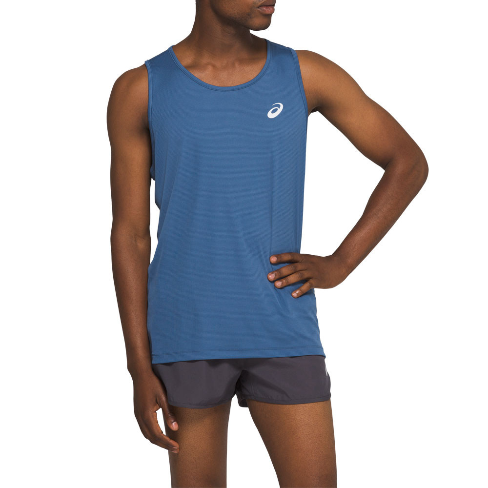 Details about Asics Mens Silver Running Vest Blue Sports Breathable Lightweight