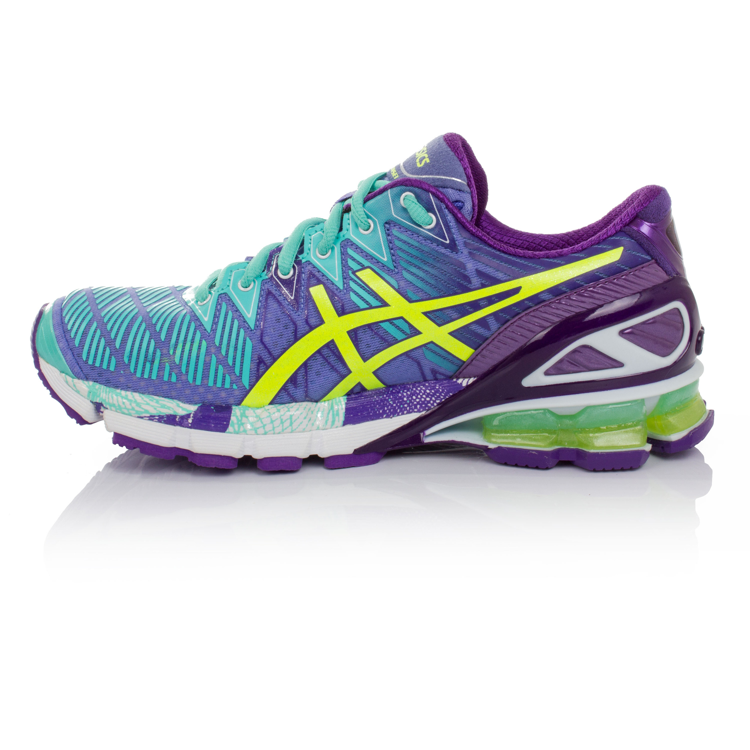 premium selection a1c24 d40ed Asics Gel-Kinsei 5 Womens Green Purple Cushioned Running Trainers Sports  Shoes
