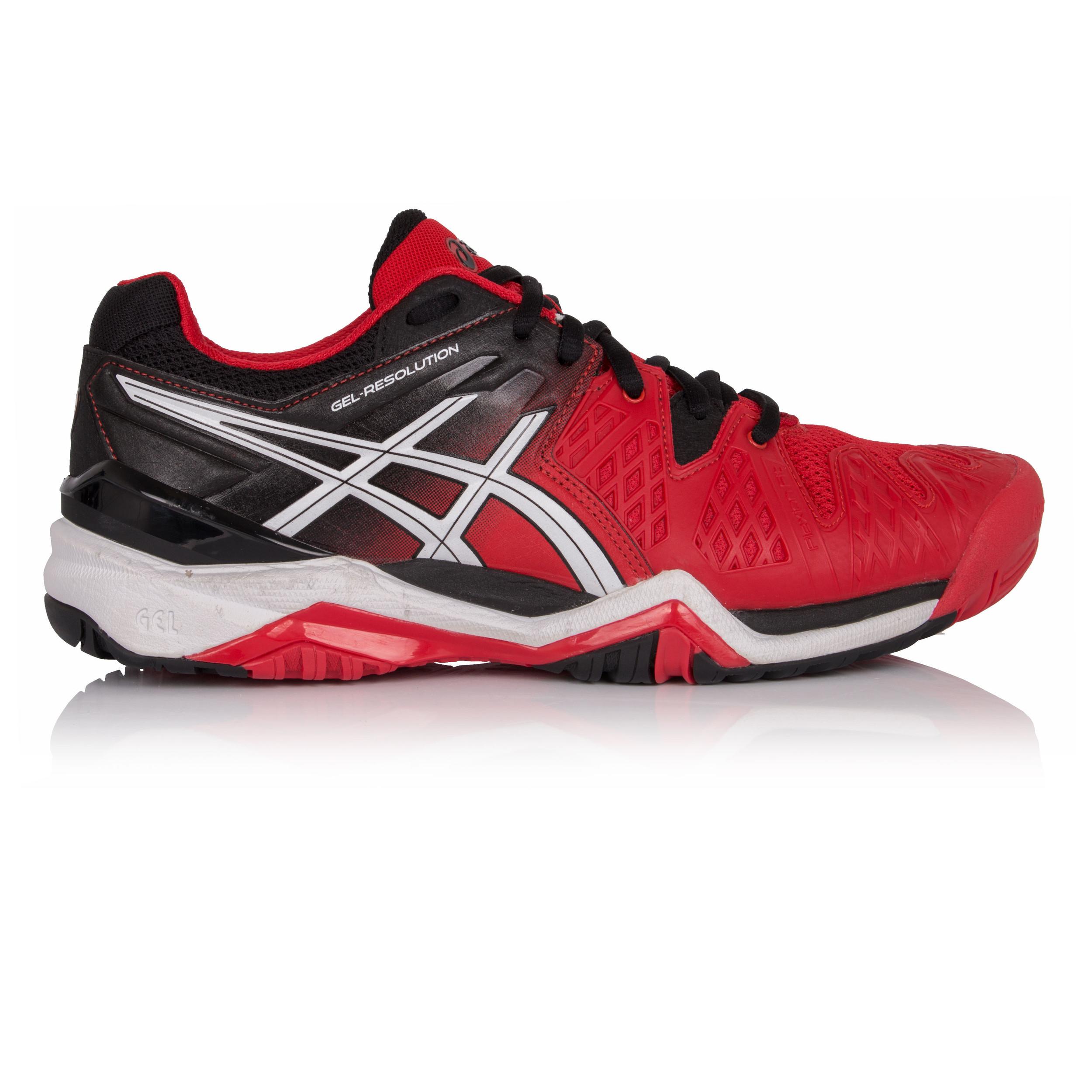 Asics Gel Resolution 6 Uomo Rosso Nero Tennis Scarpe da Ginnastica Sport