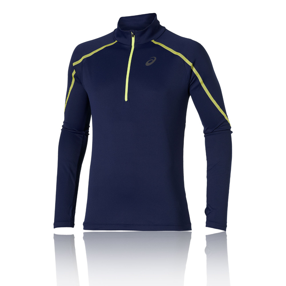 a0059d68731e Asics Liteshow Mens Blue Half Zip Long Sleeve Running Training Gym Sports  Top