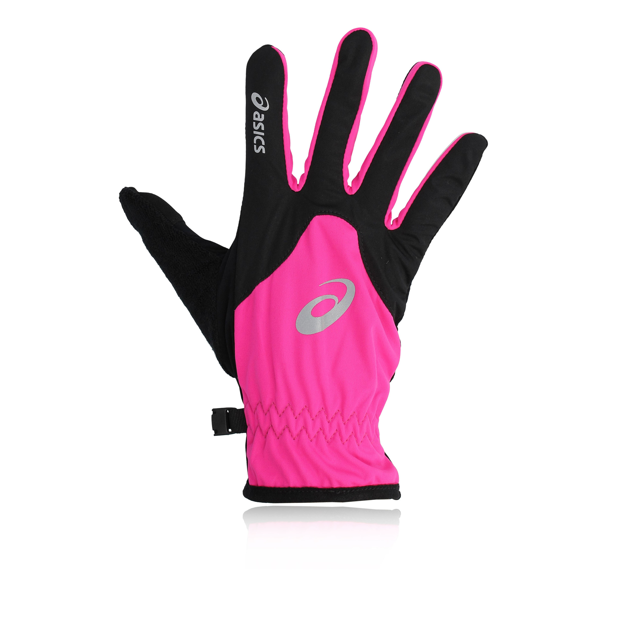 Details about ASICS Winter Unisex Pink Black Running Training Reflective Sports Gloves