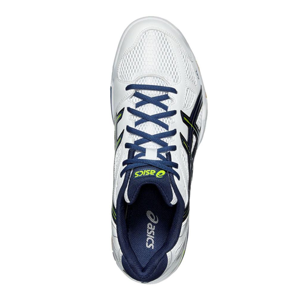 Detalles de Asics Hombre Gel flare 5 Interior Corte Zapatos Blanco Deporte Transpirable Peso