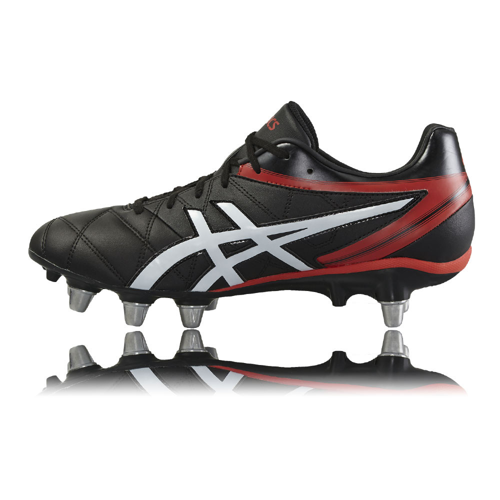 Asics Lethal Scrum Mens Red Black Rugby Boots Sports Shoes