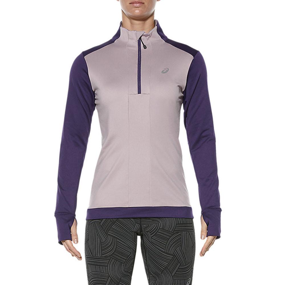 15e22ceccfd3 Asics Womens Purple Winter Warm Half Zip Long Sleeve Running Sports ...