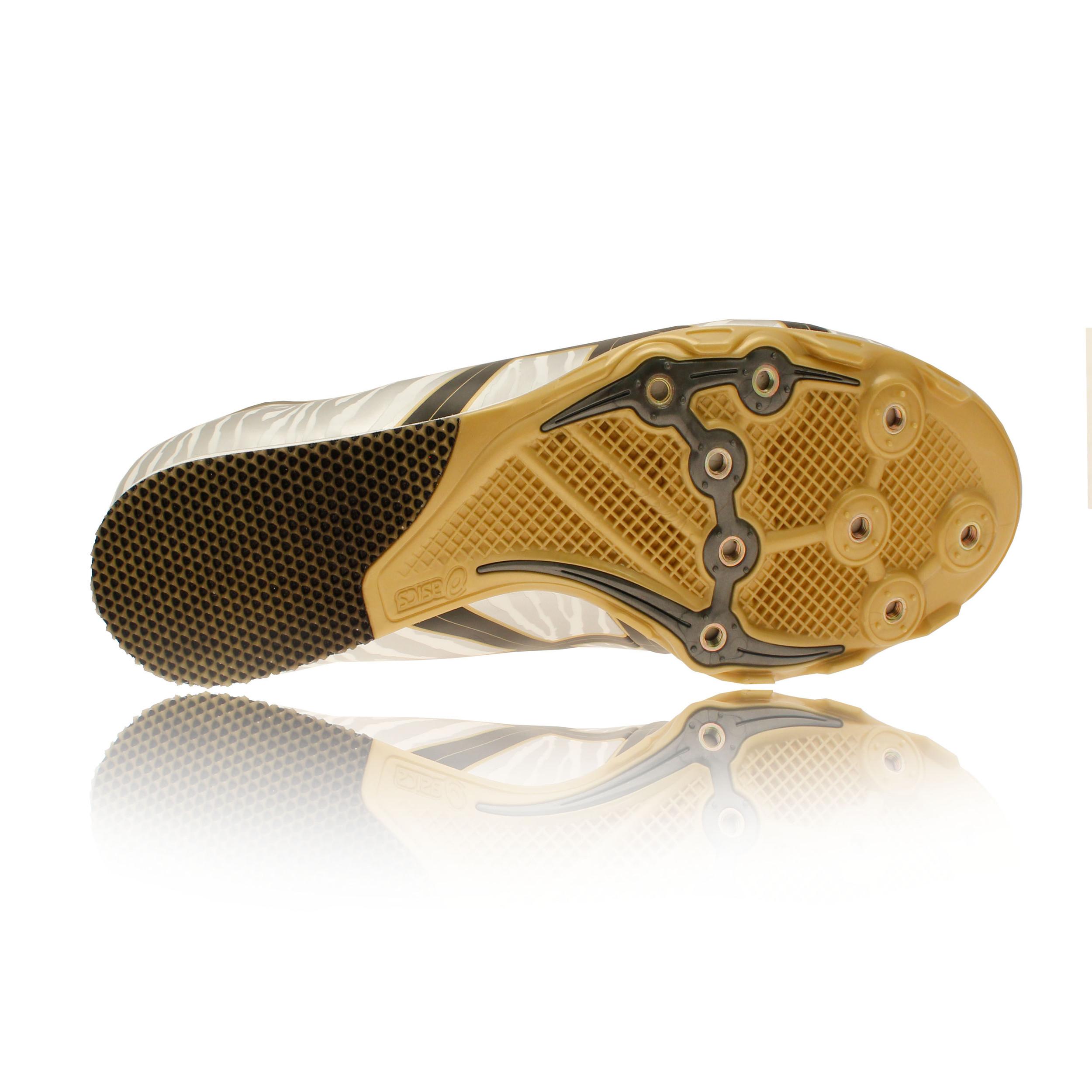 Détails sur Asics Cyber Jump London Unisexe or Jaune Field Chaussures Sprint Pointes Baskets afficher le titre d'origine