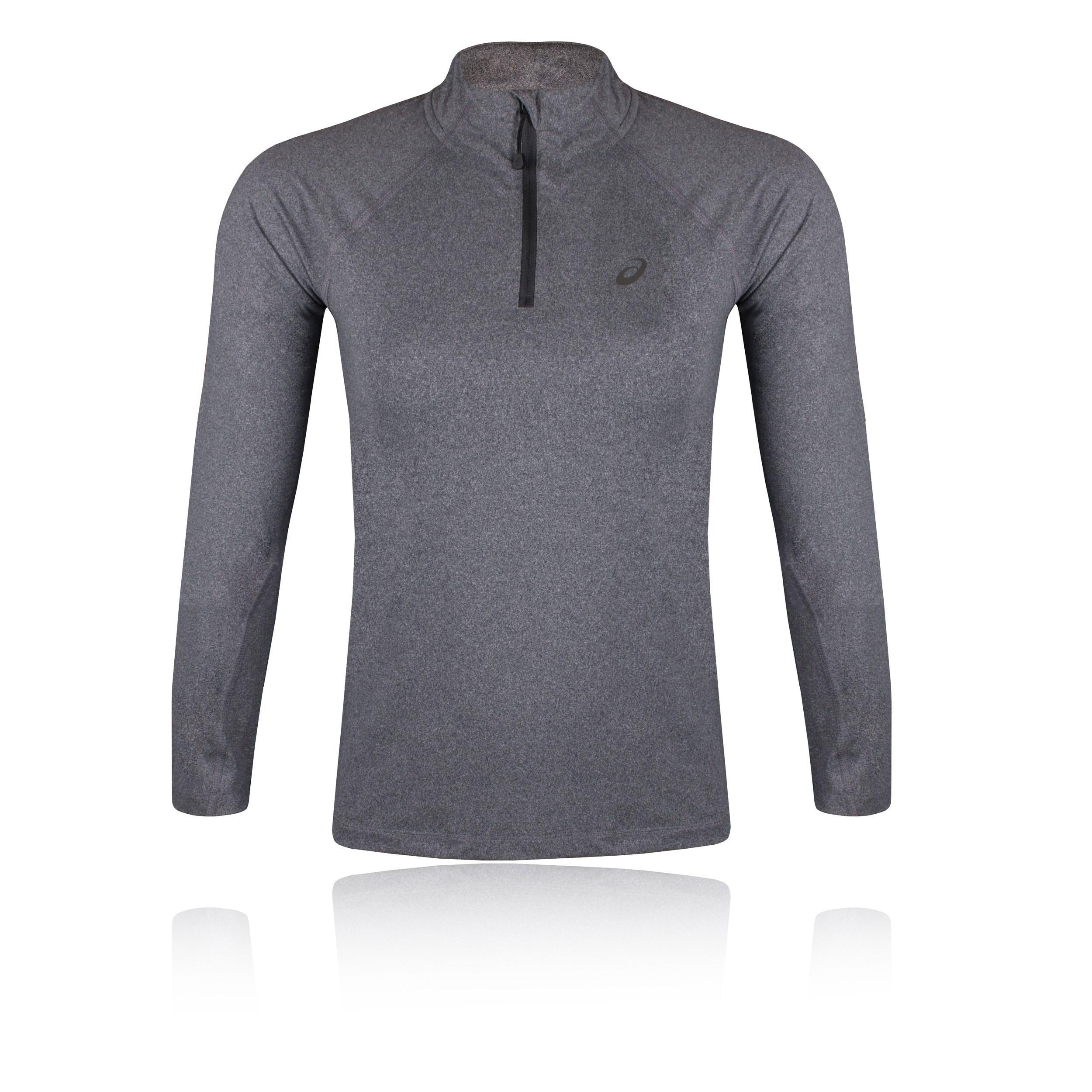 2d42ac9a Details about Asics Womens Grey Half Zip Long Sleeve Running Jersey  Baselayer Sports Top