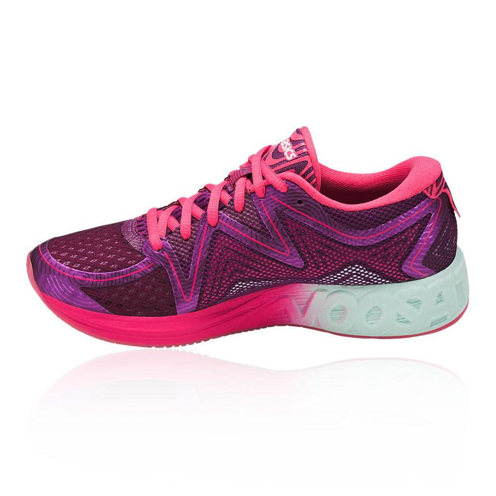 68f5fed4571 Asics Noosa Ff Femmes Rose Violet Amorti Running Chaussures De Sport Baskets