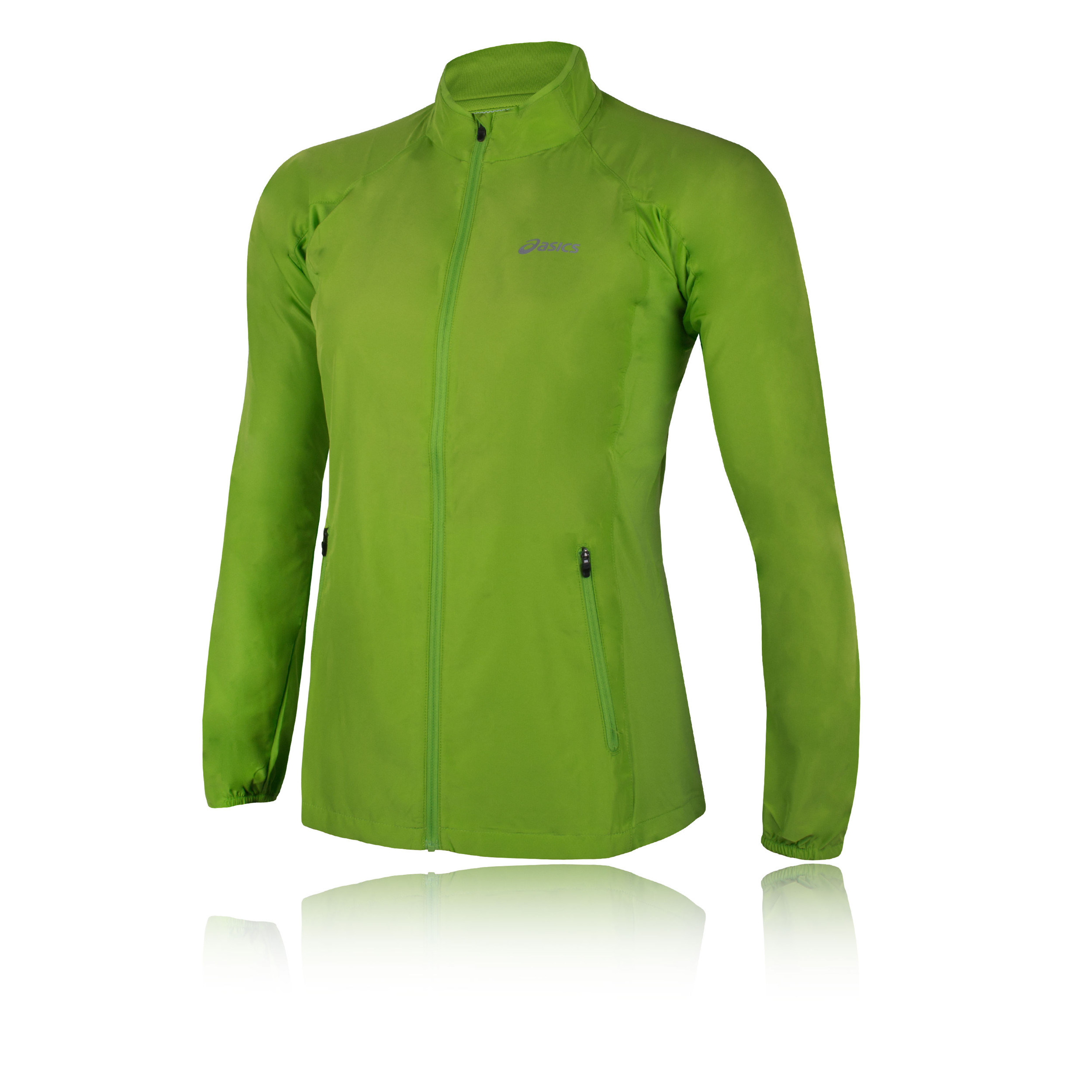 f06f28539af3 Details about Asics Womens Woven Running Jacket Top Long Sleeve Casual  Clothing Green