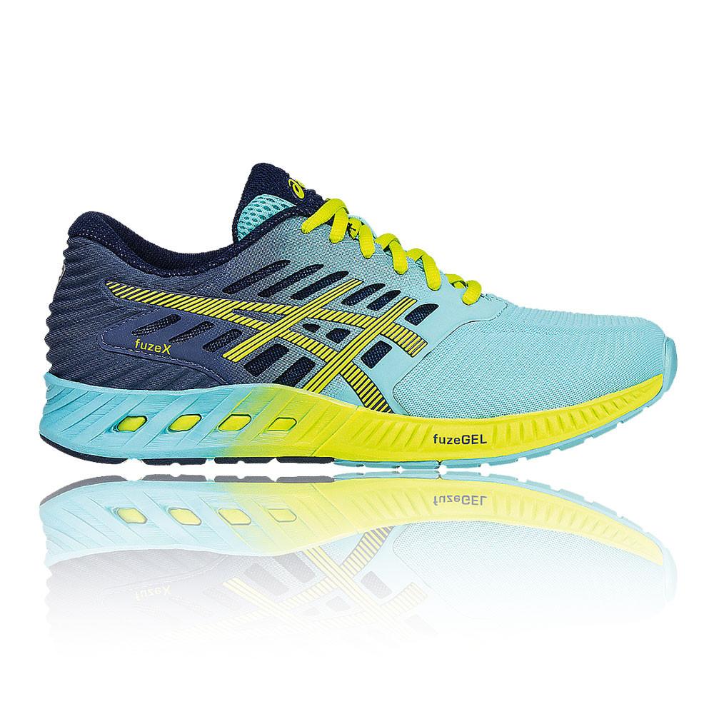 Asics Donna Blu Giallo Fuze X Scarpe Da Corsa Ginnastica Sport Sneakers