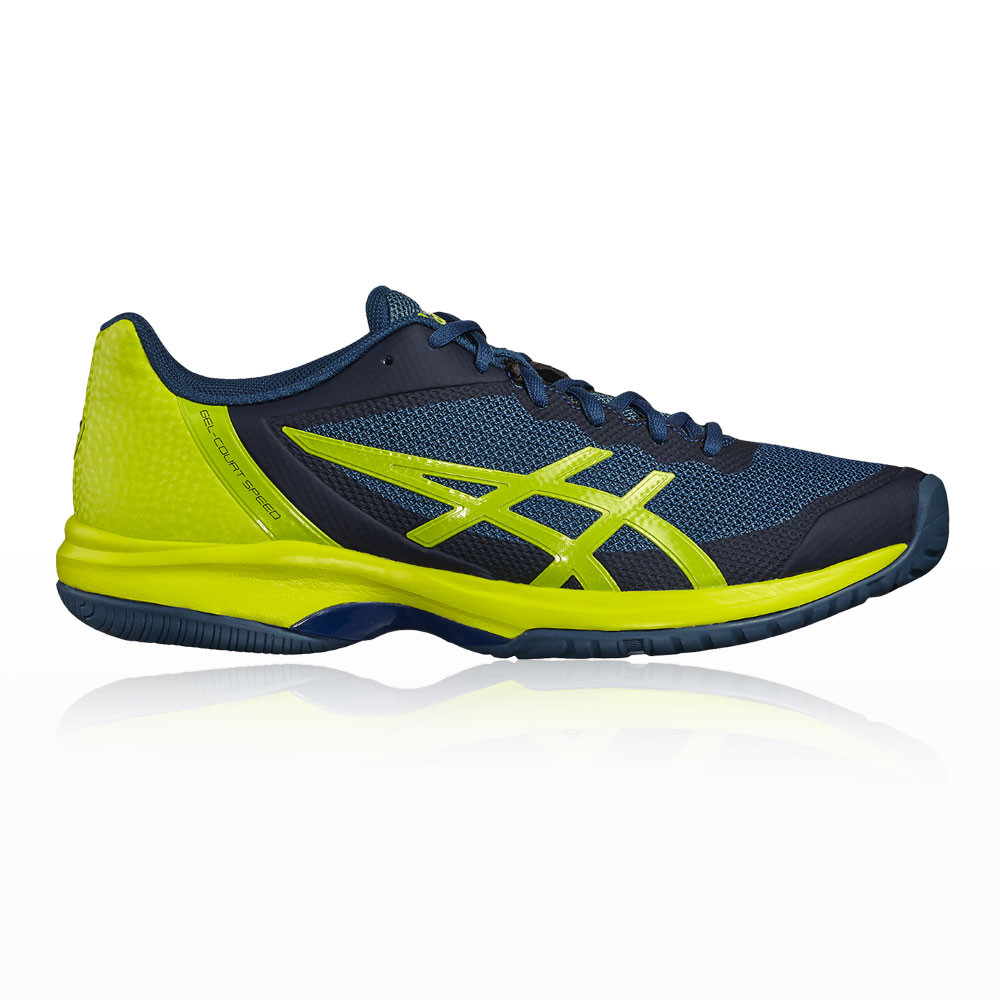 0d3b2bf515f35 Details about Asics Mens Gel-Court Speed Tennis Shoes Blue Yellow Sports  Breathable Trainers