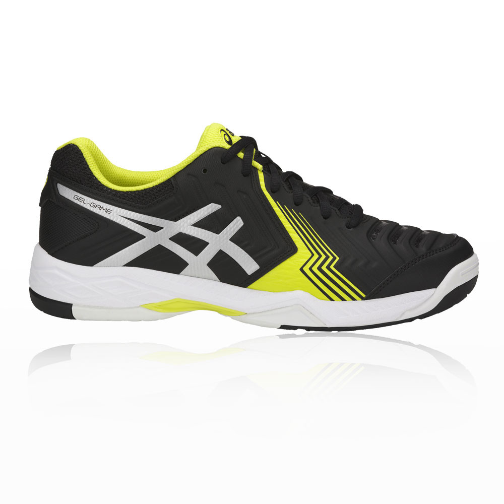 13ed475cb022c Details about Asics Mens Gel-Game 6 Tennis Shoes Black Sports Breathable  Lightweight Trainers