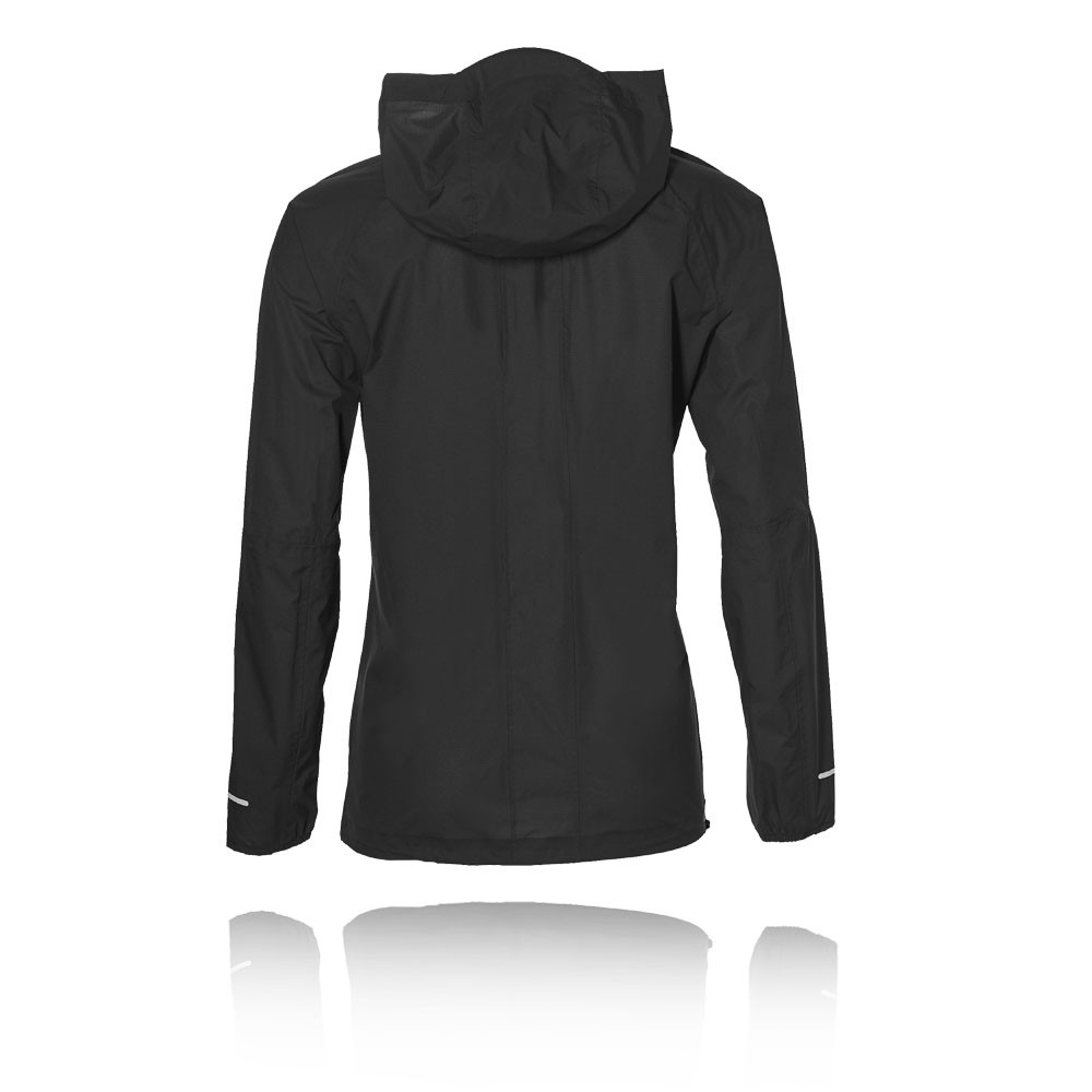 Mujer Chaqueta Deporte Top Impermeable Asics Cremallera Negro Correr xgt7zH