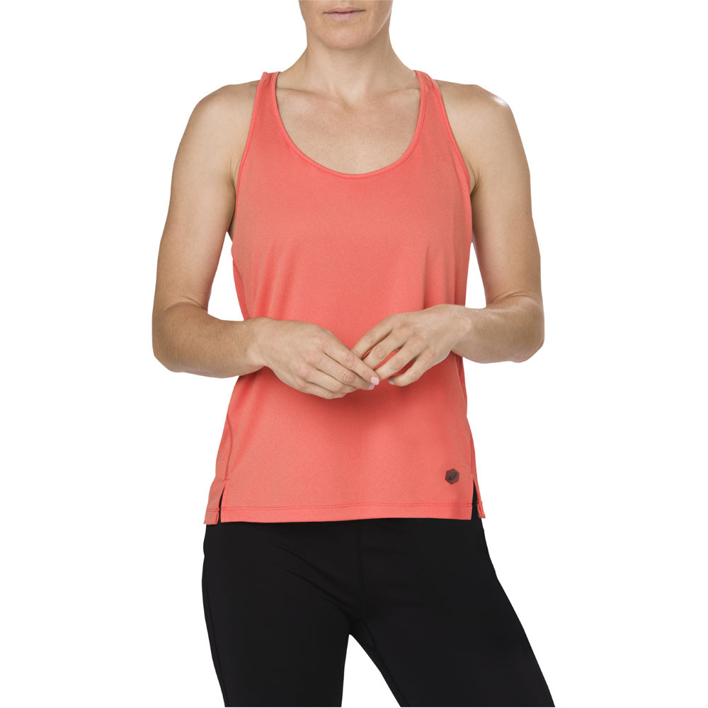 Asics-Mujer-Loose-Correr-Camiseta-Sin-Mangas-Naranja-Deporte-Gimnasio-Running