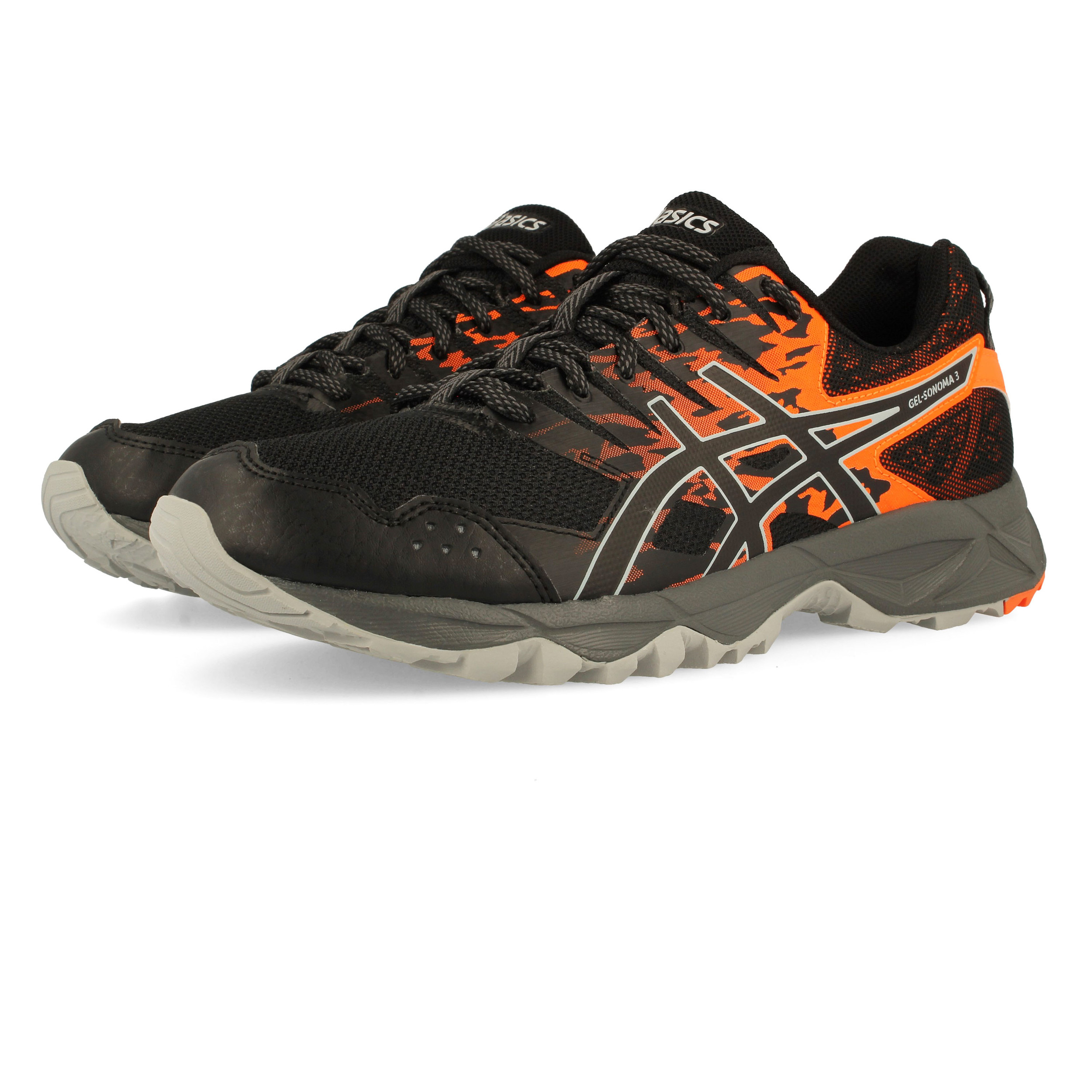 big sale b8bd6 405e4 Details about Asics Mens Gel-Sonoma 3 Trail Running Shoes Trainers Sneakers  Black Orange