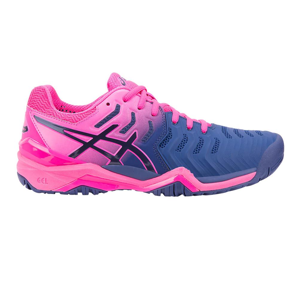 Détails sur Asics Femmes Gel Resolution 7 Tennis Chaussures De Sport Baskets Rose Violet
