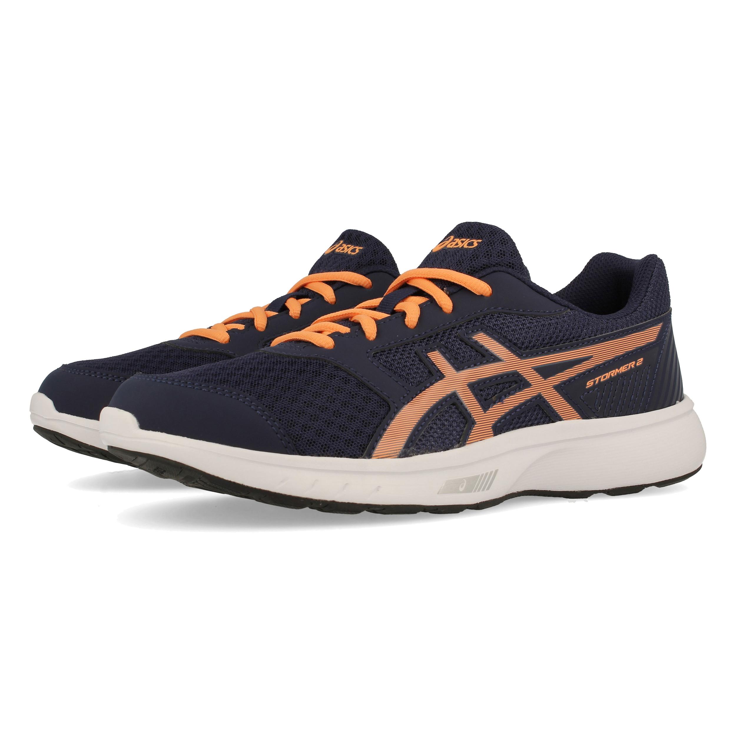 Détails sur ASICS Garçons Stormer 2 GS Chaussures De Course Baskets Sneakers Bleu Marine Orange Sports afficher le titre d'origine