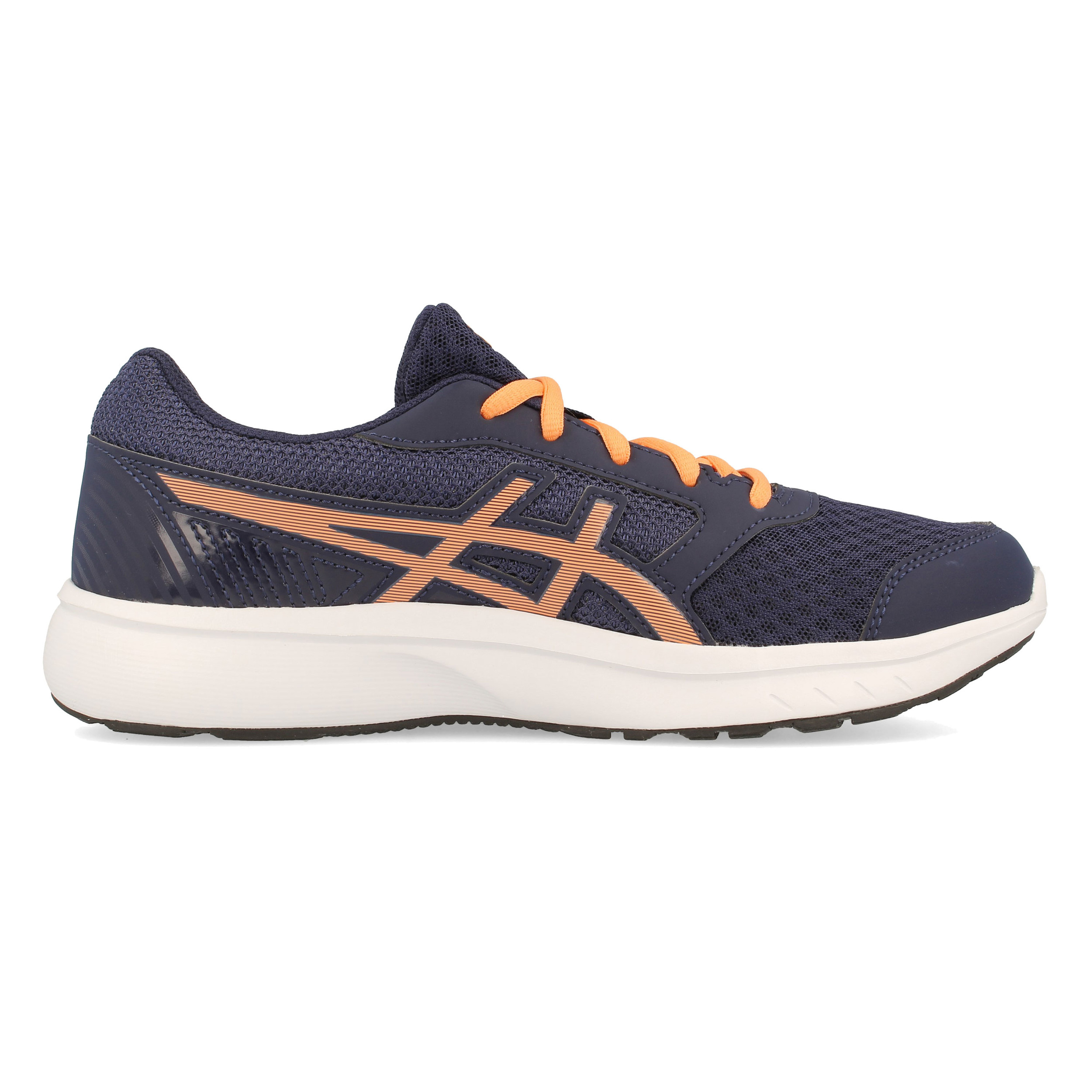 hot sales b9e16 92c91 Asics Junior Stormer 2 GS Running Shoes Trainers Sneakers Navy Blue Orange