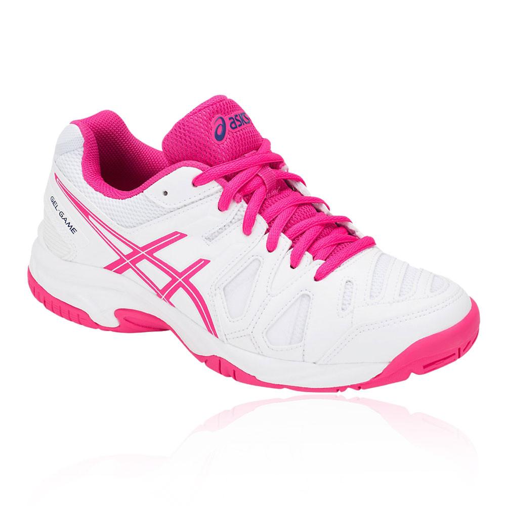 c6da2fc1c Asics Chicas Gel-game 5 Gs Júnior Tenis Zapatos Rosa Blanco Deporte  Transpirable