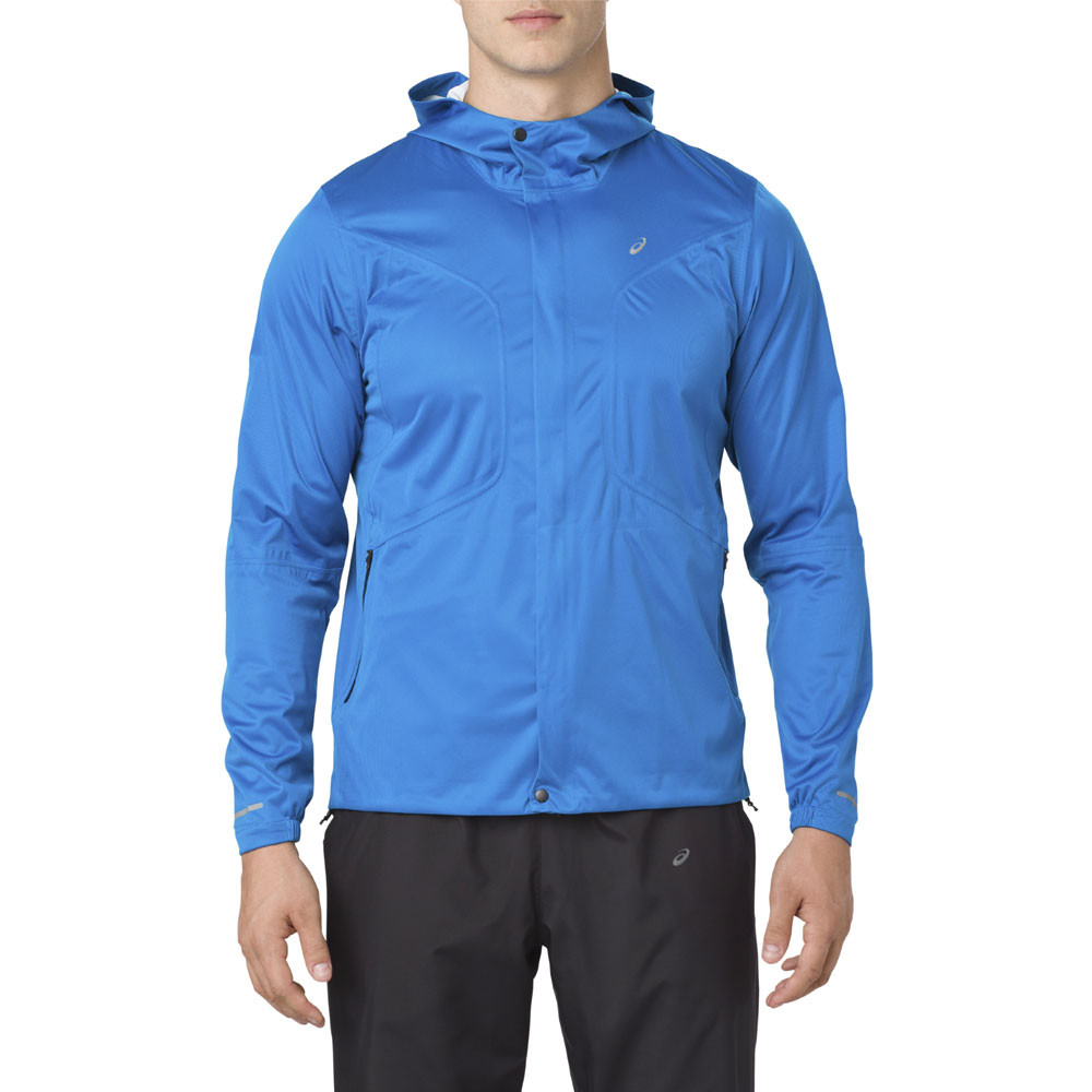 Asics Womens Accelerate Running Jacket Top Blue Sports Waterproof Windproof