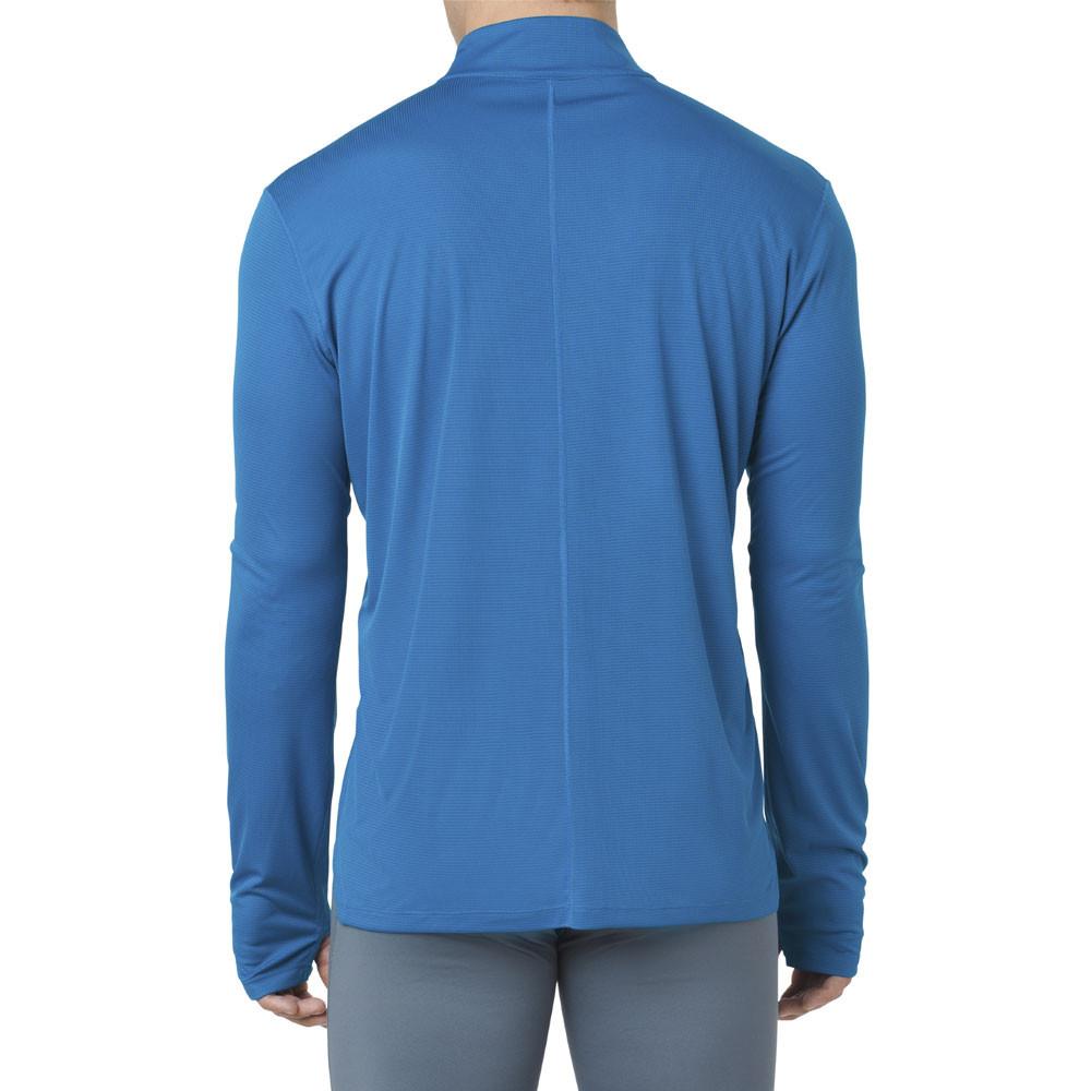 Dettagli su ASICS Uomo Silver Maglia Manica Lunga Zip T Shirt Blu Sport Corsa Traspirante