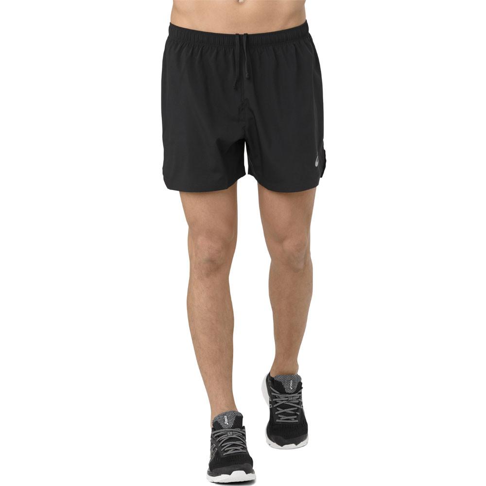 Details zu Asics Herren Silber 5in Shorts Kurze Hose Sporthose Jogging Gym Schwarz Sport