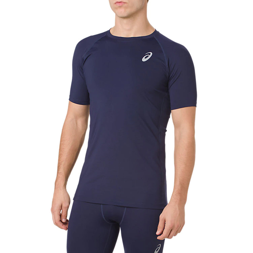 4fe7b6e80b Details about Asics Mens Base Layer Short Sleeve Top Navy Blue Sports  Running Breathable