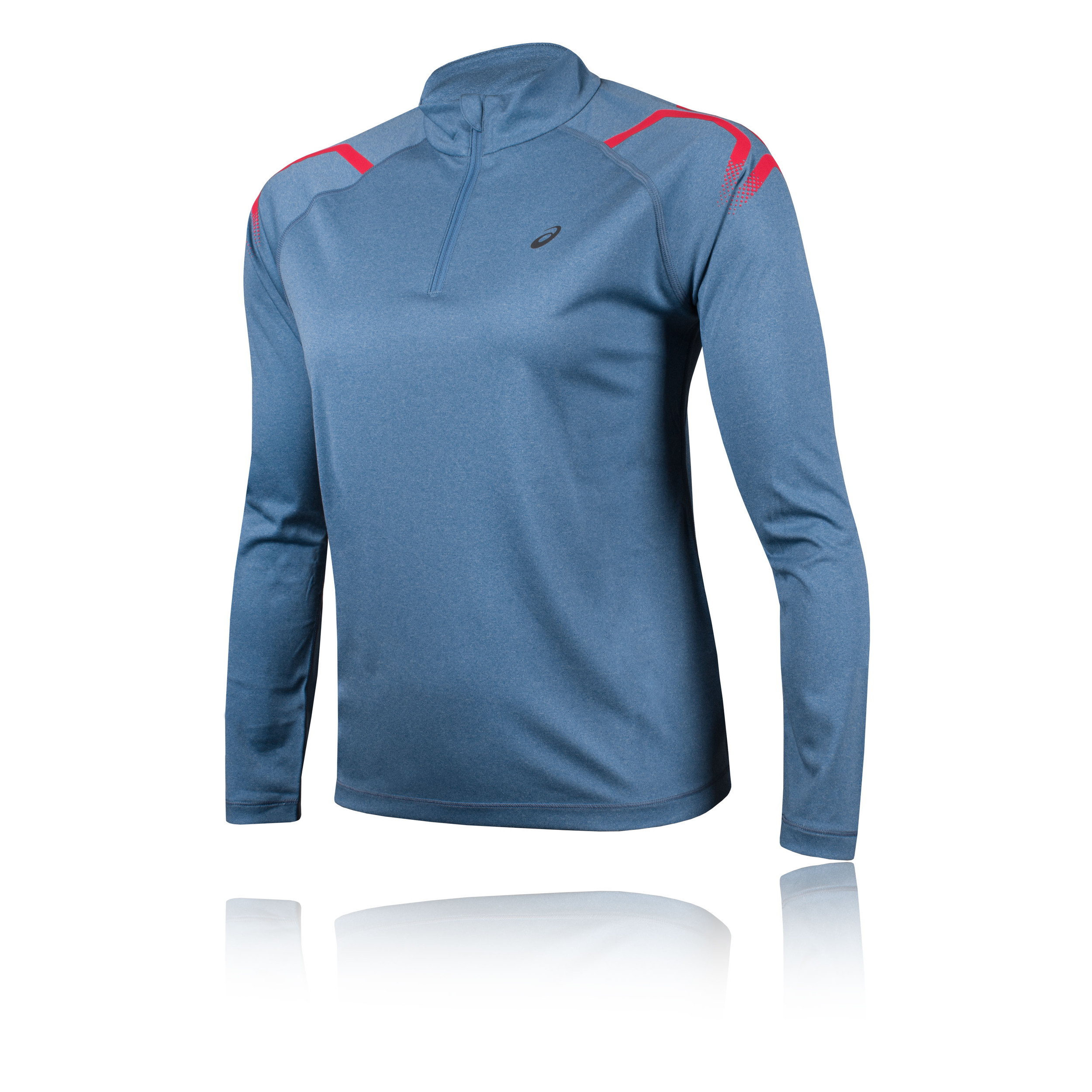 925e7c96ae Details about Asics Womens Icon Long Sleeved 1/2 Zip Top Blue Sports  Running Breathable