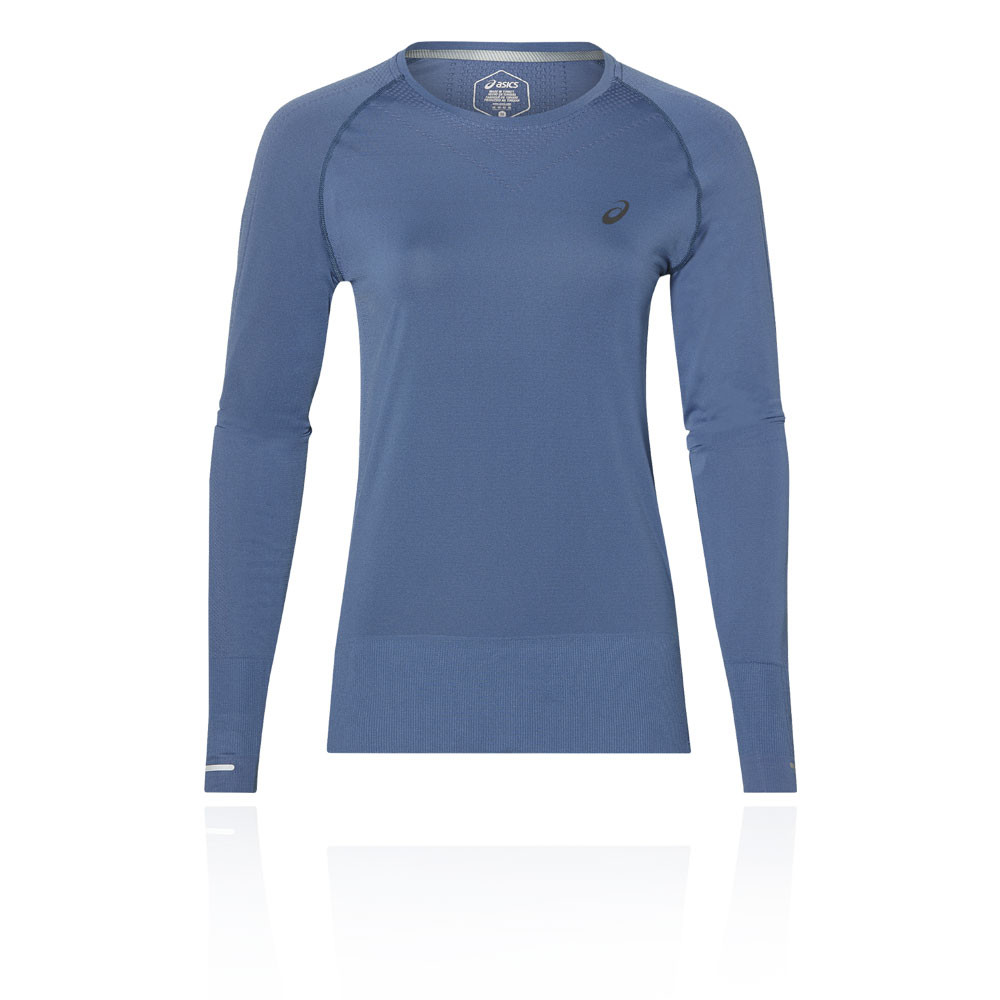 7b58e552afdb Details about Asics Womens Seamless Long Sleeved Running Top Blue Sports Gym  Breathable
