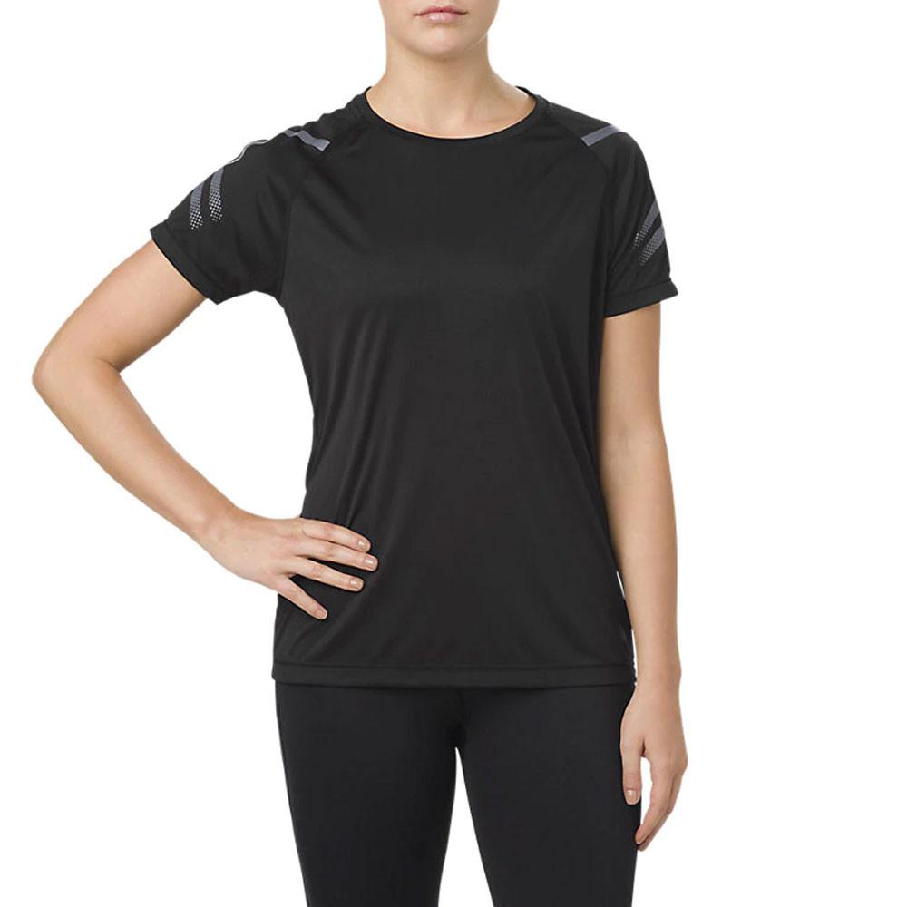 Détails sur Asics Femmes Icon Manche Courte Top T Shirt Noir Sport Jogging Respirant Léger
