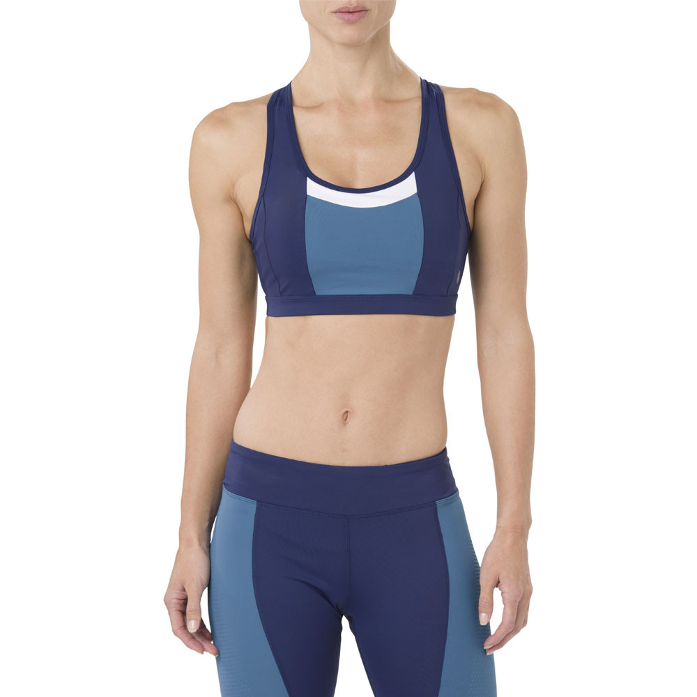 cc327e639d17 Asics Womens Colour Block Bra Blue Sports Gym Breathable Lightweight ...