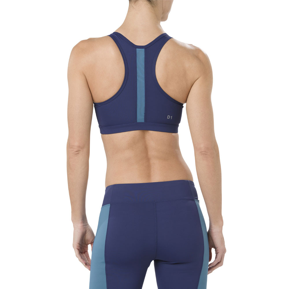 fca9c358f5f38 Asics Womens Colour Block Bra Blue Sports Gym Breathable Lightweight ...