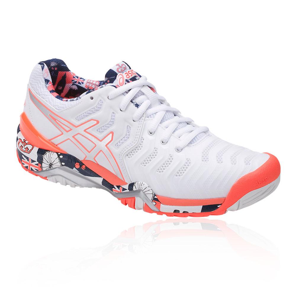 9d25ee9fc2ec Asics Womens Gel-Resolution 7 L.E. London Tennis Shoes White Breathable  Trainers