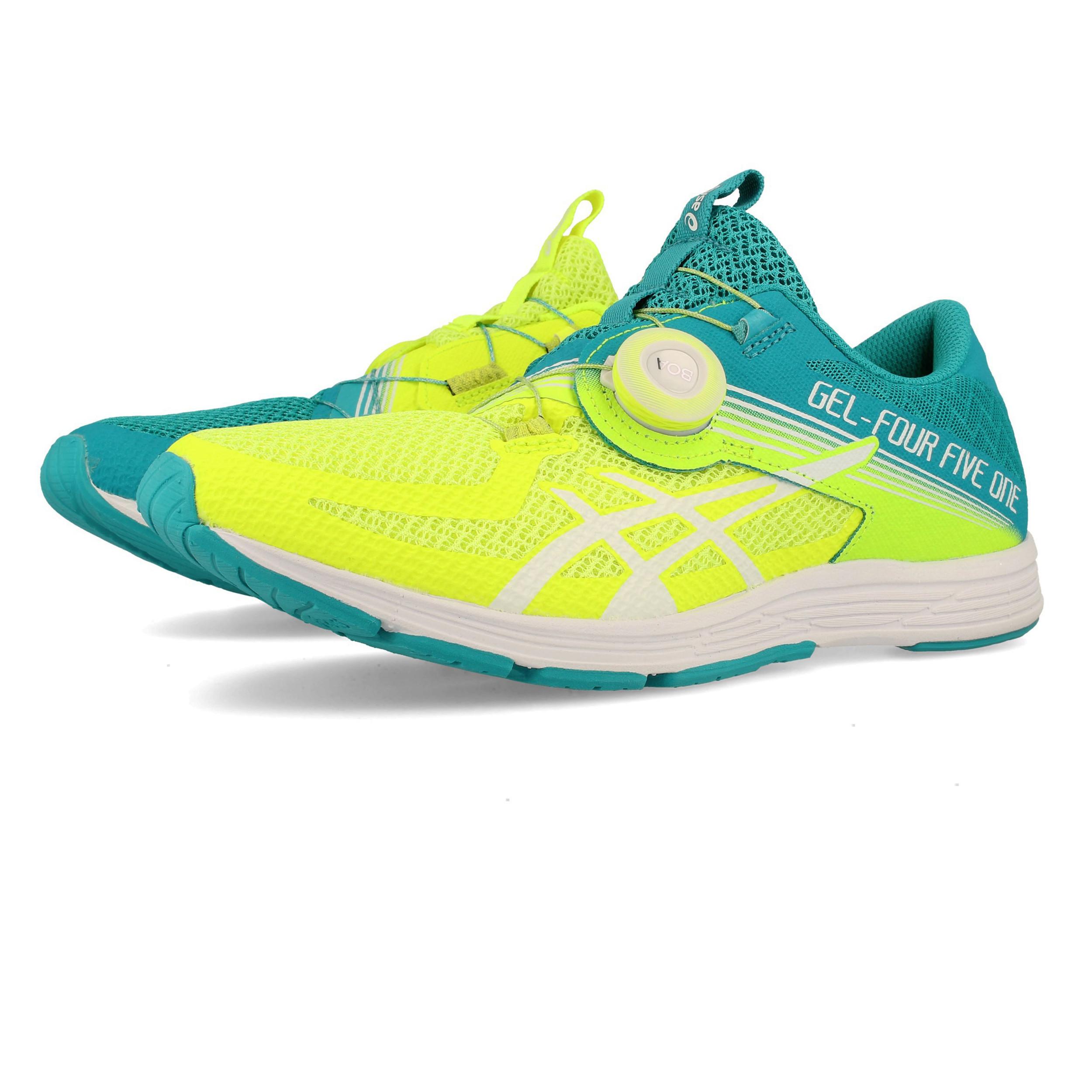 Detalles de Asics Mujer Gel 451 Correr Zapatos Zapatillas Azul Amarillo Deporte Entrenar