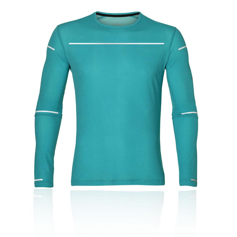 Details zu Asics Herren Icon Langarm Top Hemd Laufshirt Blau Sports Laufen Atmungsaktiv