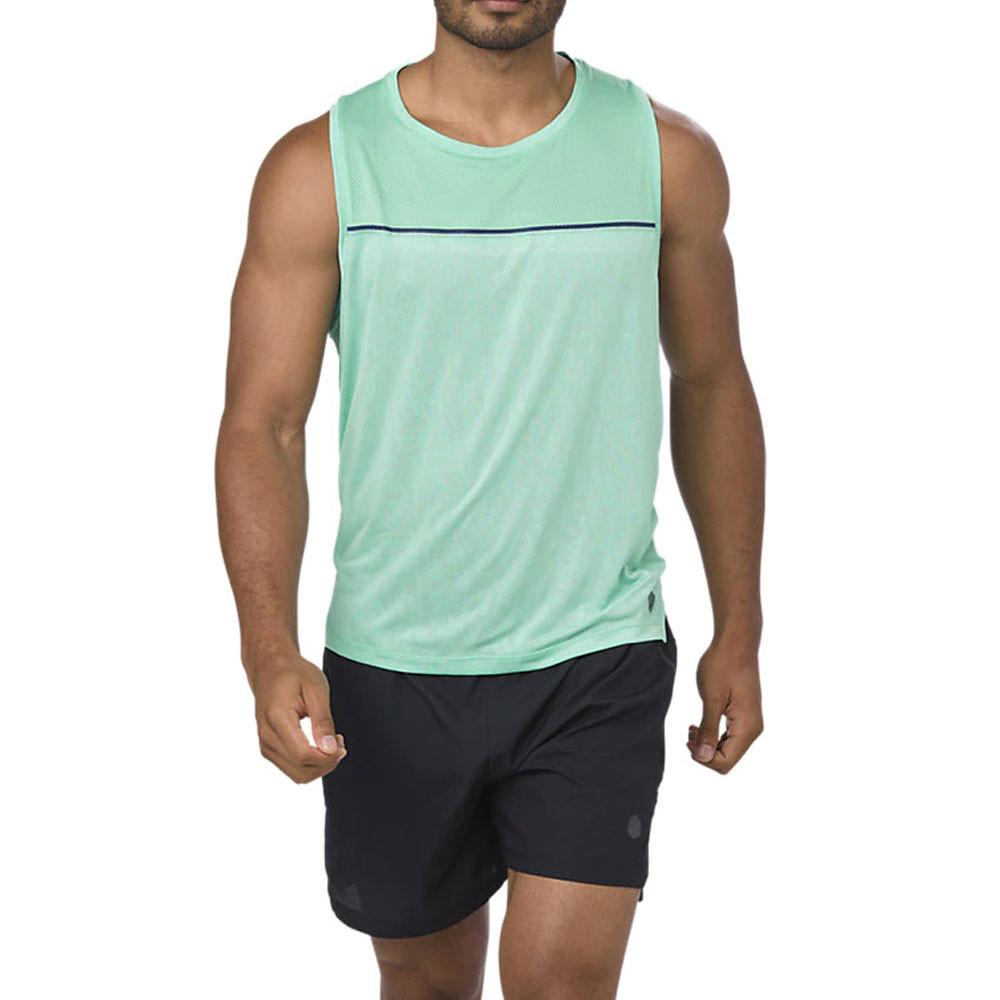 9eeda6fbde371 Details about Asics Mens Cool Running Singlet Green Sports Breathable  Reflective Lightweight