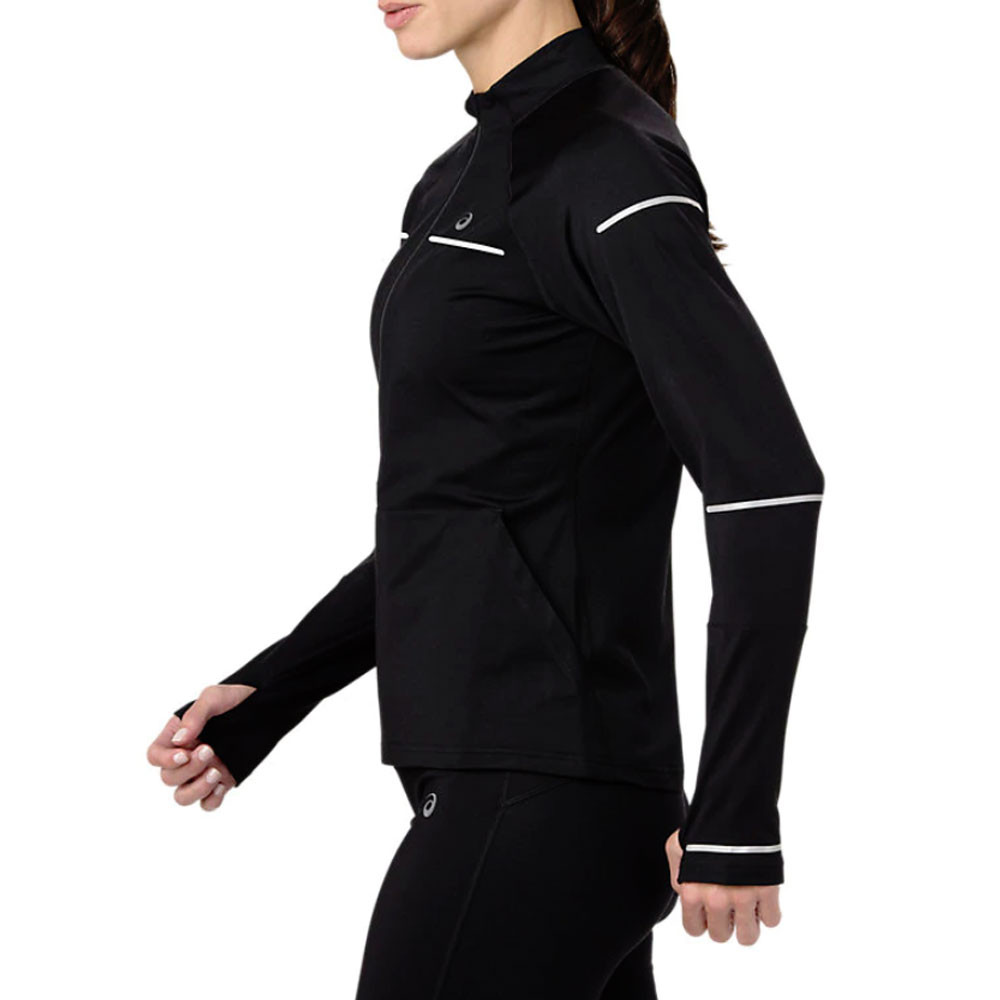 dc65d5e919a7 Asics Womens Lite-Show Winter Long Sleeve 1/2 Zip Running Top Black Sports  Warm