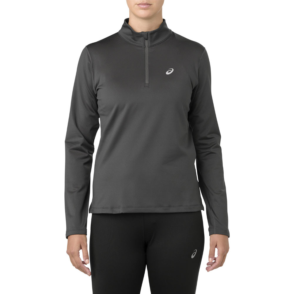 87a686f76a1 Asics Womens Silver Long Sleeve 1/2 Zip Winter Running Top Grey Sports Half
