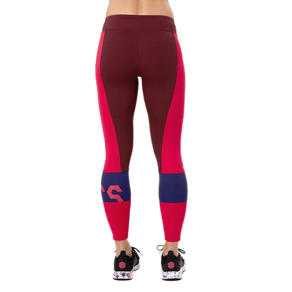 4925fc34f38ffd Asics Womens Colour Block 7/8 Tights Bottoms Pants Trousers Pink Red Sports