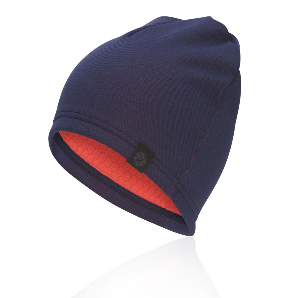 Asics Unisex Thermal Beanie Navy Blue Sports Running Breathable Lightweight 42ecf172a09