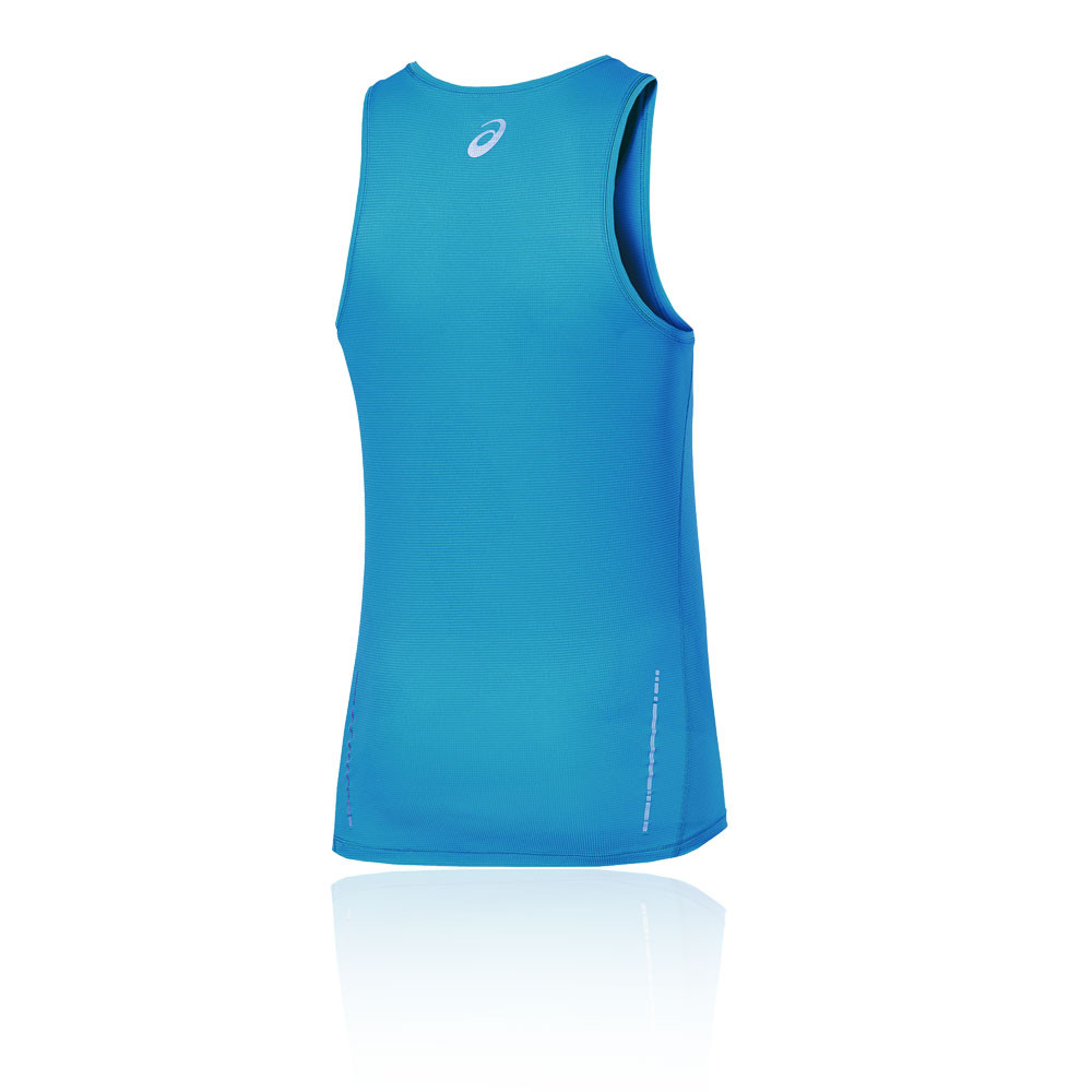 Details about Asics Mens Essentials Running Vest Blue Sports Breathable Reflective Lightweight