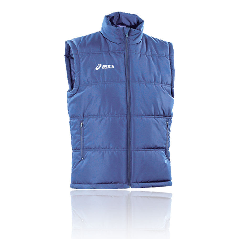Details about Asics Mens Gilet Vest Blue Sports Running Warm Breathable Lightweight