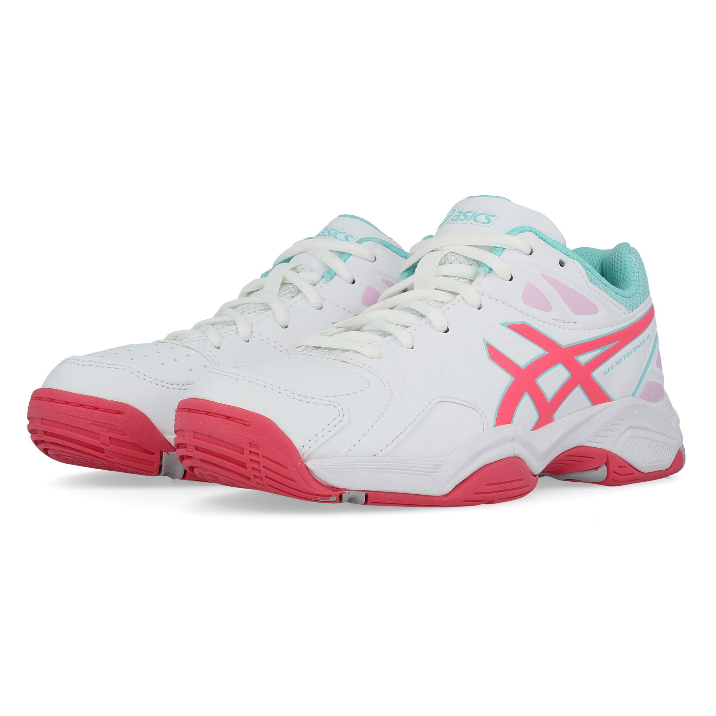 magasin en ligne 73ffe 382f1 Details about Asics Junior Gel-Netburner 18 GS Netball Shoes White Sports  Breathable