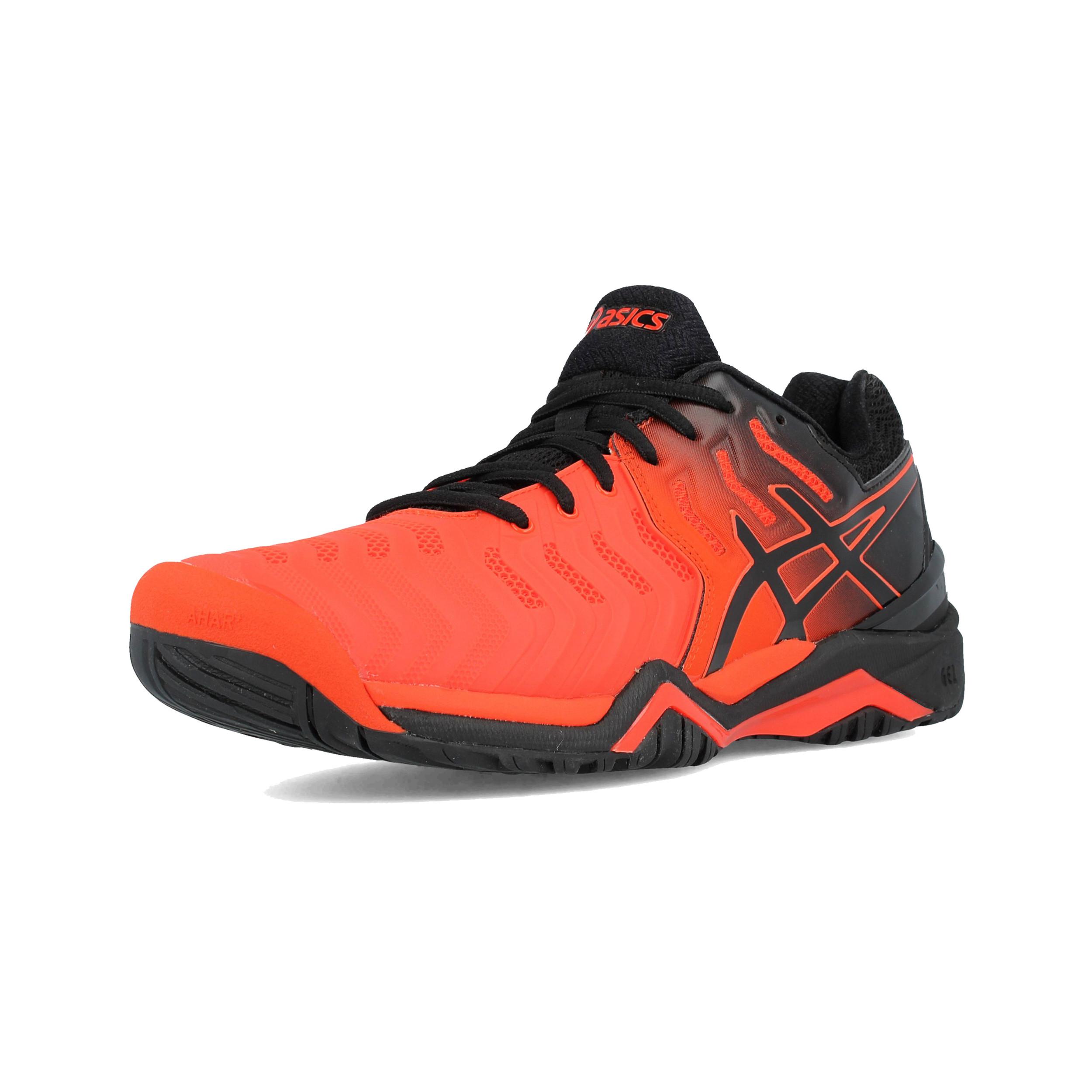6bd241b97a2 Asics Hombre Gel-resolution 7 Tenis Zapatos Negro Rojo Deporte Transpirable