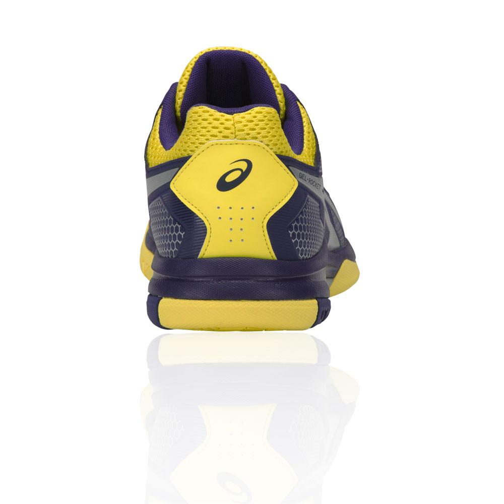 Détails sur Asics Hommes Gel Rocket 8 Chaussures De Sport En Salle Baskets Violet Jaune