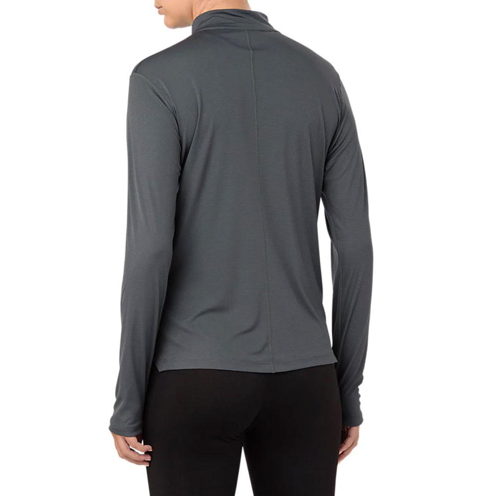 Asics Womens Silver Half Zip Long Sleeve Top Grey Sports Running Breathable