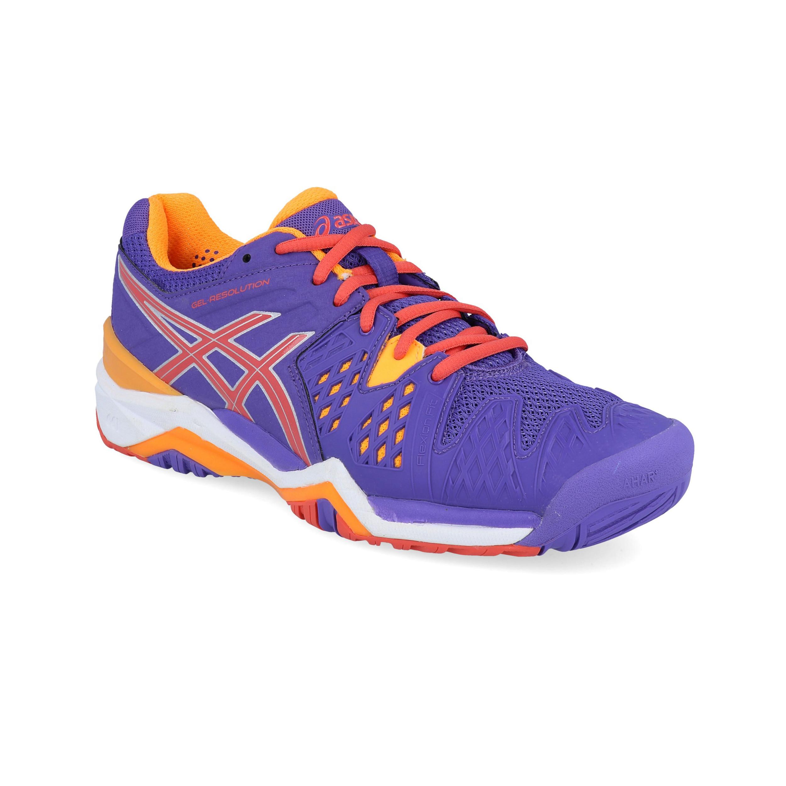 Détails sur Asics Femmes Gel Résolution 6 Tennis Chaussures De Sport Orange Violet Sport