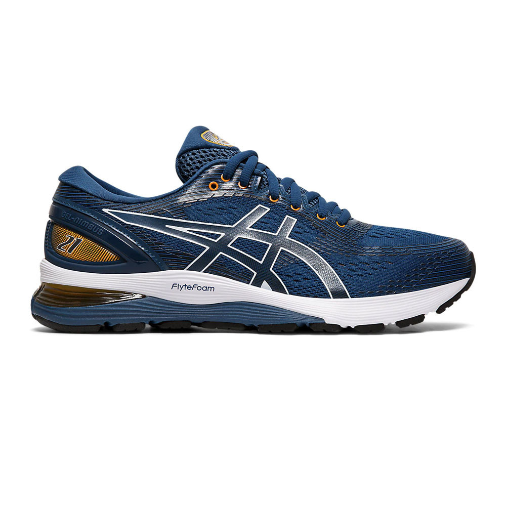Asics Mens Gel-Nimbus 21 Running Shoes Trainers Blue Sports Breathable
