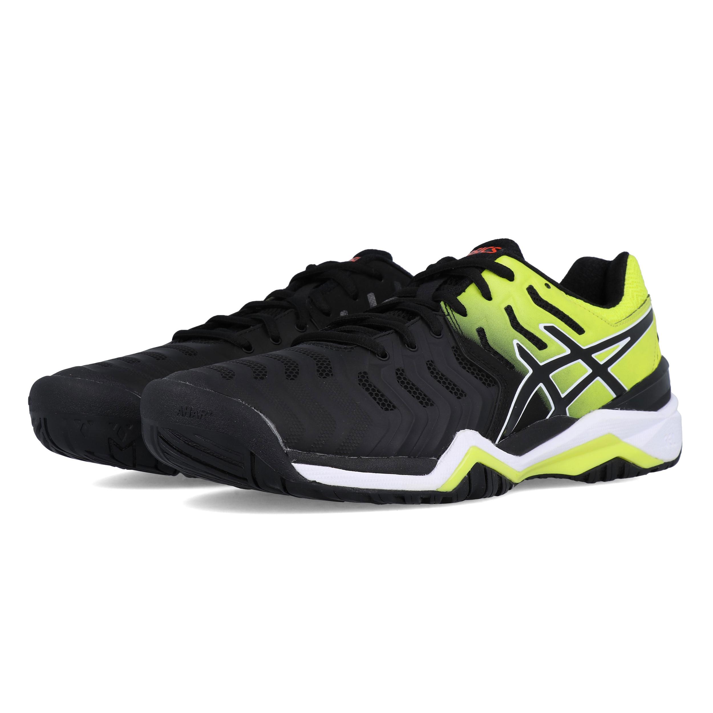 Détails sur Asics Homme Gel Resolution 7 Chaussures de Tennis Noir Jaune Sport Respirant afficher le titre d'origine