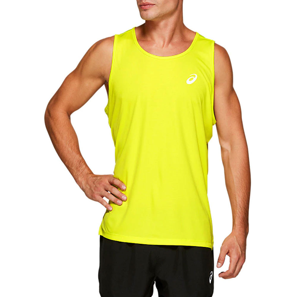 Asics Mens Cool Running Singlet Grey Sports Breathable Reflective Lightweight