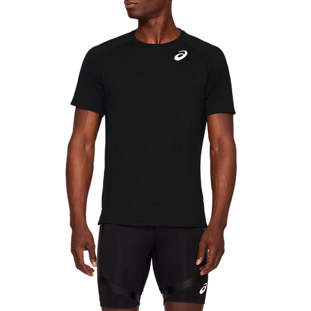 Dettagli su ASICS Uomo Knit Corsa T Shirt Top Nero Sport Traspirante Riflettente